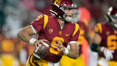 <p>               FILE - In this Sept. 31, 2019, file photo, Southern California quarterback Kedon Slovis is shown during an NCAA college football game against Fresno State, in Los Angeles. Slovis couldn't believe he woke up last Sunday as Southern California's starting quarterback. With J.T. Daniels out for the season, the freshman backup is improbably in charge when the Trojans face No. 23 Stanford's tough defense. (AP Photo/Kyusung Gong, File)             </p>