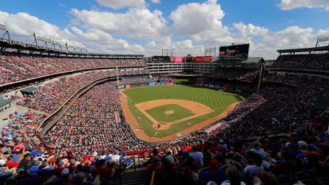 <p>               Fans watch as the New York Yankees play the Texas Rangers in the fifth inning of a baseball game at Globe Life Park in Arlington, Texas, Sunday, Sept. 29, 2019. The game was the final contest for the Rangers of the 2019 season, and the final game at the park for them. The club will play in a new stadium, Globe Life Field, still under construction across the street from the park, in the 2020 season. (AP Photo/Tony Gutierrez)             </p>