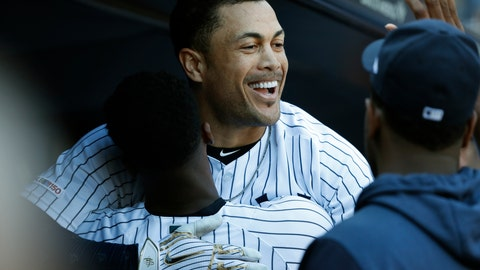 <p>               New York Yankees' Giancarlo Stanton celebrates with New York Yankees' Didi Gregorius after hitting a home run against the Toronto Blue Jays during the sixth inning of the team's baseball game, Saturday, Sept. 21, 2019, in New York. (AP Photo/Michael Owens)             </p>