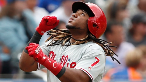 <p>               Philadelphia Phillies' Maikel Franco (7) reacts running down the third base line after hitting a two-run, home run during the sixth inning of a baseball game against the New York Mets, Sunday, Sept. 8, 2019, in New York. (AP Photo/Kathy Willens)             </p>