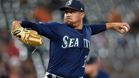 <p>               Seattle Mariners pitcher Justus Sheffield throws against the Baltimore Orioles in the first inning of a baseball game, Saturday, Sept. 21, 2019, in Baltimore. (AP Photo/Gail Burton)             </p>