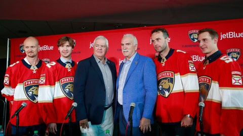 <p>               FILE - In this July 2, 2019, file photo, Florida Panthers President of Hockey Operations & General Manager Dale Tallon, third from left, and head coach Joel Quenneville, third from right, pose with new players Anton Stralman, left, Sergei Bobrovsky, second from left, Brett Connolly, second from right, and Noel Acciari, right, after a news conference in Sunrise, Fla. With Tampa Bay, Boston, the Toronto Maple Leafs and refueled Florida Panthers, the Atlantic Division looks like murderer's row. (AP Photo/Wilfredo Lee, File)             </p>