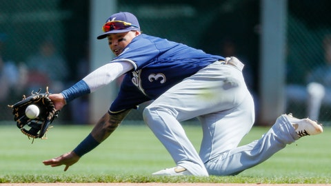 <p>               Milwaukee Brewers shortstop Orlando Arcia fields a ground ball hit by Cincinnati Reds' Aristides Aquino before throwing to first for the out in the seventh inning of a baseball game, Thursday, Sept. 26, 2019, in Cincinnati. (AP Photo/John Minchillo)             </p>