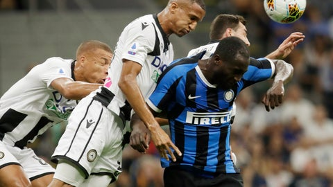 <p>               Inter Milan's Romelu Lukaku, right, heads the ball flanked by Udinese's Mato Jajalo, Rodrigo Becao, center, and Udinese's Sebastien De Maio, left, during a Serie A soccer match between Inter Milan and Udinese, at the San Siro stadium in Milan, Italy, Saturday, Sept. 14, 2019. (AP Photo/Luca Bruno)             </p>