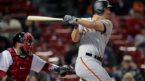 <p>               San Francisco Giants' Alex Dickerson watches the flight of his RBI sacrifice fly during the 15th inning of the team's baseball game against the Boston Red Sox at Fenway Park in Boston, early Wednesday, Sept. 18, 2019. (AP Photo/Charles Krupa)             </p>