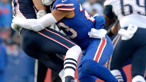 <p>               FILE - In this Dec. 3, 2017, file photo, Buffalo Bills strong safety Micah Hyde (23) hits New England Patriots wide receiver Danny Amendola (80) during the second half of an NFL football game in Orchard Park, N.Y. The continuity the Bills have established on defense over the past three years has plenty of benefits and, perhaps, one drawback. Hyde said he and Buffalo's 10 returning defensive starters were so far ahead during the offseason re-introductory phase last spring the sessions felt  a little too repetitive. (AP Photo/Adrian Kraus, File)             </p>