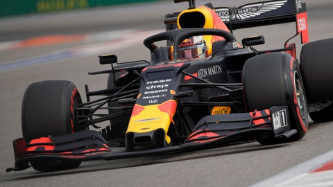 <p>               Red Bull driver Max Verstappen of the Netherlands steers his car during the first free practice at the 'Sochi Autodrom' Formula One circuit, in Sochi, Russia, Friday, Sept. 27, 2019. The Formula one race will be held on Sunday. (AP Photo/Luca Bruno)             </p>