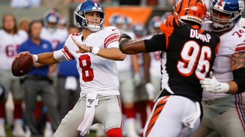 <p>               FILE - In this Aug. 22, 2019, file photo, New York Giants quarterback Daniel Jones (8) looks for a receiver during the first half of an NFL preseason football game against the Cincinnati Bengals in Cincinnati. Eli Manning's long and distinguished reign as the New York Giants' starting quarterback is seemingly over. Let the Daniel Jones era begin. Coach Pat Shurmur announced Tuesday, Sept. 17, 2019, that the No. 6 overall pick in the NFL draft is replacing two-time Super Bowl MVP as the Giants' quarterback, beginning Sunday at Tampa Bay.(AP Photo/Frank Victores, File)             </p>