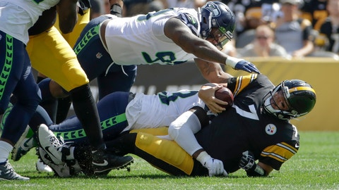 <p>               Pittsburgh Steelers quarterback Ben Roethlisberger (7) is sacked by Seattle Seahawks defensive end Rasheem Green (98) and Jadeveon Clowney in the first half of an NFL football game, Sunday, Sept. 15, 2019, in Pittsburgh. (AP Photo/Gene J. Puskar)             </p>