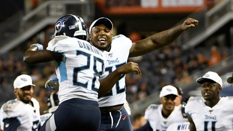 <p>               Tennessee Titans running back Dalyn Dawkins (28) celebrates with running back Derrick Henry after Dawkins scored a touchdown during the second half of the team's NFL preseason football game against the Chicago Bears, Thursday, Aug. 29, 2019, in Chicago. Tennessee won 19-15. (AP Photo/David Banks)             </p>