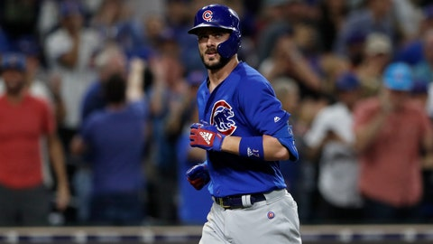 <p>               Chicago Cubs' Kris Bryant reacts after hitting a two-run home run during the eighth inning of the team's baseball game against the San Diego Padres on Tuesday, Sept. 10, 2019, in San Diego. (AP Photo/Gregory Bull)             </p>