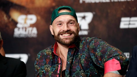 <p>               Tyson Fury smiles during a news conference Wednesday, Sept. 11, 2019, in Las Vegas. Fury will face Otto Wallin in a heavyweight boxing match Saturday. (AP Photo/Isaac Brekken)             </p>