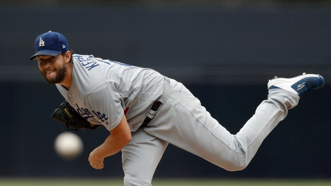<p>               Los Angeles Dodgers starting pitcher Clayton Kershaw works against a San Diego Padres batter during the first inning of a baseball game Thursday, Sept. 26, 2019, in San Diego. (AP Photo/Gregory Bull)             </p>