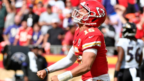 <p>               Kansas City Chiefs quarterback Patrick Mahomes (15) celebrates after completing a pass for a first down during the second half of an NFL football game against the Baltimore Ravens in Kansas City, Mo., Sunday, Sept. 22, 2019. (AP Photo/Ed Zurga)             </p>