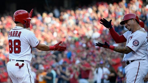 <p>               Washington Nationals' Gerardo Parra (88) celebrates his grand slam with Asdrubal Cabrera, right, during the second inning of a baseball game against the Cleveland Indians, Saturday, Sept. 28, 2019, in Washington. (AP Photo/Nick Wass)             </p>