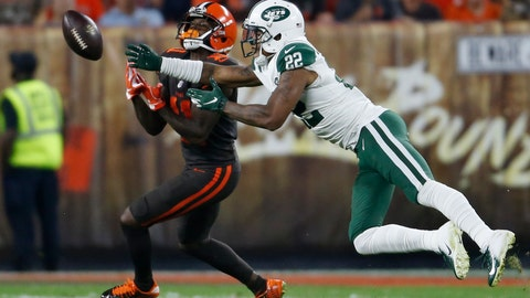 <p>               FILE - In this Sept. 20, 2018, file photo, New York Jets defensive back Trumaine Johnson (22) breaks up a pass intended for Cleveland Browns wide receiver Antonio Callaway (11) during the first half of an NFL football game in Cleveland. Johnson might be the most important Jets player not named Sam Darnold, Le'Veon Bell or Jamal Adams. (AP Photo/Ron Schwane, File)             </p>