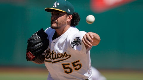 <p>               Oakland Athletics pitcher Sean Manaea works against the Detroit Tigers during the first inning of a baseball game Sunday, Sept. 8, 2019, in Oakland, Calif. (AP Photo/Ben Margot)             </p>