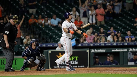 <p>               Houston Astros' Michael Brantley, right, watches his game-winning two-run home run along with Seattle Mariners catcher Austin Nola, center, during the 13th inning of a baseball game Thursday, Sept. 5, 2019, in Houston. The Astros won 11-9. (AP Photo/David J. Phillip)             </p>