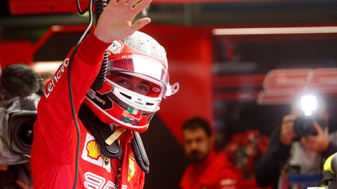 <p>               Ferrari driver Charles Leclerc of Monaco waves during the first free practice at the Monza racetrack, in Monza, Italy, Friday, Sept. 6, 2019. The Formula one race will be held on Sunday. (AP Photo/Antonio Calanni)             </p>