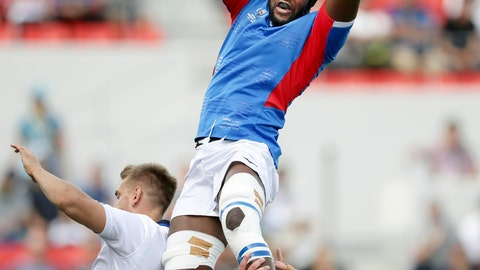 <p>               Namibia's Tjiuee Uanivi catches the ball to to win a lineout against Italy during the Rugby World Cup Pool B game between Italy and Namibia in Osaka, western Japan, Sunday, Sept. 22, 2019. (Yohei Fukuyama/Kyodo News via AP)             </p>