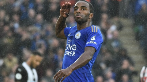 <p>               Leicester's Ricardo Pereira celebrates after scoring the opening goal under heavy rain during the English Premier League soccer match between Leicester City and Newcastle United at the King Power Stadium in Leicester, England, Sunday, Sept. 29, 2019. (AP Photo/Rui Vieira)             </p>
