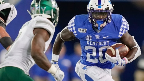 <p>               Kentucky running back Kavosiey Smoke (20) runs with the ball during the second half of an NCAA college football game against Eastern Michigan, Saturday, Sept. 7, 2019, in Lexington, Ky. (AP Photo/Bryan Woolston)             </p>
