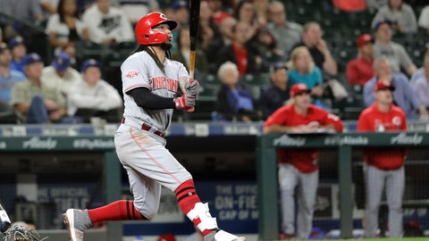 <p>               Cincinnati Reds' Freddy Galvis watches his grand slam in the seventh inning of the team's baseball game against the Seattle Mariners, Thursday, Sept. 12, 2019, in Seattle. (AP Photo/Ted S. Warren)             </p>