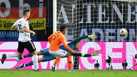 <p>               Netherlands' Donyell Malen, center, scores his side's third goal past Germany goalkeeper Manuel Neuer during the Euro 2020 group C qualifying soccer match between Germany and the Netherlands at the Volksparkstadion in Hamburg, Germany, Friday, Sept. 6, 2019. (AP Photo/Martin Meissner)             </p>