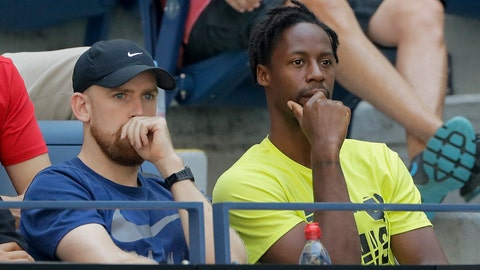 <p>               Gael Monfils, of France, right, watches a match between Elina Svitolina, of Ukraine, and Johanna Konta, of the United Kingdom, during the quarterfinals of the US Open tennis championships Tuesday, Sept. 3, 2019, in New York. (AP Photo/Frank Franklin II)             </p>