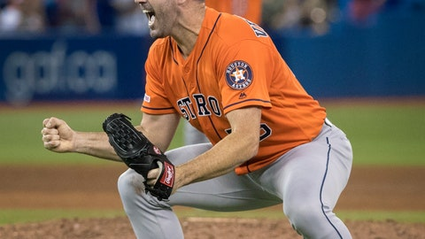 <p>               Houston Astros starting pitcher Justin Verlander reacts after pitching a no-hitter against the Toronto Blue Jays in a baseball game in Toronto, Sunday, Sept. 1, 2019. (Fred Thornhill/The Canadian Press via AP)             </p>