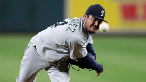 <p>               Seattle Mariners starting pitcher Felix Hernandez throws to a Baltimore Orioles batter during the second inning of a baseball game, Friday, Sept. 20, 2019, in Baltimore. (AP Photo/Julio Cortez)             </p>