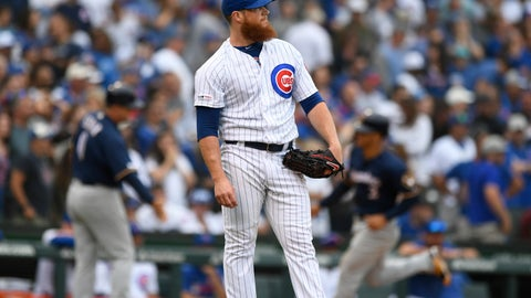 <p>               Chicago Cubs relief pitcher Craig Kimbrel watches a three-run home run hit by Milwaukee Brewers' Christian Yelich during the ninth inning of a baseball game Sunday, Sept. 1, 2019, in Chicago. (AP Photo/Paul Beaty)             </p>