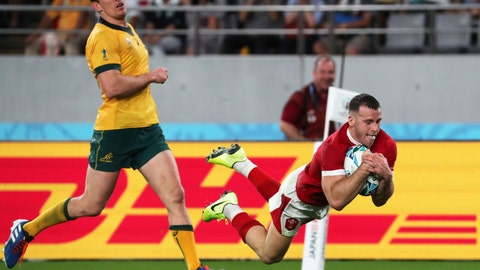 <p>               Wales Gareth Davies scores a try during the Rugby World Cup Pool D game at Tokyo Stadium between Australia and Wales in Tokyo, Japan, Sunday, Sept. 29, 2019. (AP Photo/Koji Sasahara)             </p>