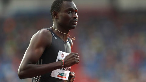 <p>               FILE - In this Wednesday, June 28, 2017 file picture David Lekuta Rudisha from Kenya competes in the 1000 meters men's event at the Golden Spike athletic meeting in Ostrava, Czech Republic. David Rudisha didn't take part in the Kenyan trials and will miss the world championships as he struggles to get over thigh and back injuries that have kept him out of top-level competition for more than two years (AP Photo/Petr David Josek, file)             </p>