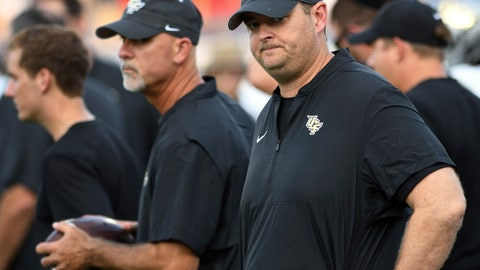 <p>               UCF coach Josh Heupel looks over his team before an NCAA college football game against Florida Atlantic on Saturday, Sept. 7, 2019, in Boca Raton, Fla. (AP Photo/Jim Rassol)             </p>