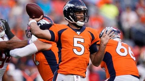 <p>               FILE - In this Aug. 19, 2019, file photo, Denver Broncos quarterback Joe Flacco (5) throws a pass against the San Francisco 49ers during an NFL preseason football game in Denver. More than ever NFL teams are choosing protection over preparation when it comes to their quarterback's workload in the preseason. The Broncos and Raiders, who cap off the NFL's opening weekend Monday night, are two examples. Oakland's Derek Carr took just six snaps and threw two passes in the preseason and Denver's new quarterback, Joe Flacco, directed just four series in the preseason. (AP Photo/Jack Dempsey, File)             </p>