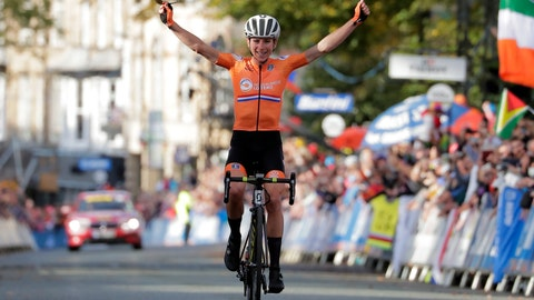<p>               Annemiek van Vleuten, of The Netherlands, celebrates as she crosses the finish line to win the women elite race, at the road cycling World Championships in Harrogate, England, Saturday, Sept. 28, 2019. (AP Photo/Manu Fernandez)             </p>