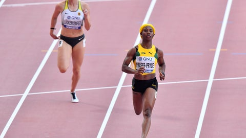 <p>               Shelly-Ann Fraser-Pryce, of Jamaica, crosses the finish line followed by Gina Lückenkemper, of Germany, left, in a women's 100 meter race heat during the World Athletics Championships in Doha, Qatar, Saturday, Sept. 28, 2019. (AP Photo/Martin Meissner)             </p>
