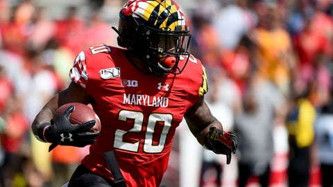 <p>               Maryland Terrapins running back Javon Leake (20) runs the ball during the first half of an NCAA college football game against the Syracuse Orange, Saturday, Sept. 7, 2019, in College Park, Md. (AP Photo/Will Newton)             </p>