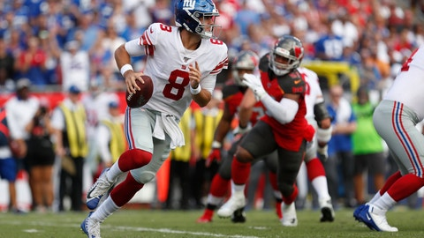 <p>               FILE - In this Sept. 22, 2019, file photo, New York Giants quarterback Daniel Jones (8) runs against the Tampa Bay Buccaneers during the first half of an NFL football game, in Tampa, Fla. Surviving in the NFL as a young quarterback means being able to move. That doesn't mean running as well as Lamar Jackson. Gardner Minshew, Kyle Allen and even Daniel Jones are showing that being able to elude pressure is a must to keep throwing the ball. (AP Photo/Mark LoMoglio, File)             </p>