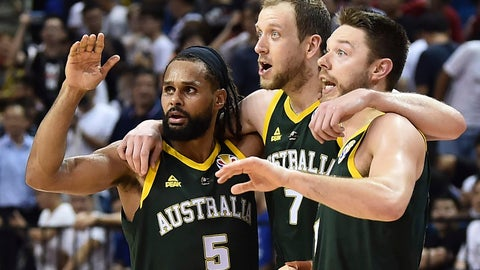 <p>               From left, Patty Mills, Joe Ingles and Matthew Dellavedova of Australia react during their second round basketball game against France in the FIBA Basketball World Cup in Nanjing in eastern China's Jiangsu province, Monday, Sept. 9, 2019. (AP Photo)             </p>