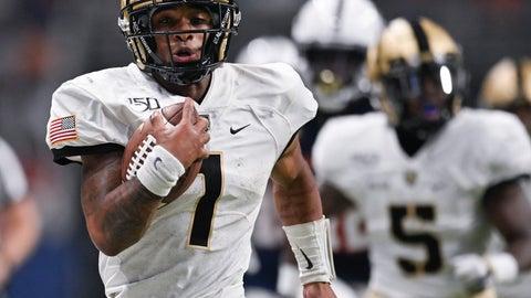 <p>               Army quarterback Jabari Laws runs for a touchdown during the second half of an NCAA college football game against UTSA, Saturday, Sept. 14, 2019 in San Antonio. (AP Photo/Darren Abate)             </p>