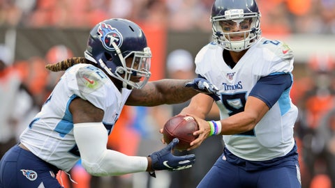 <p>               Tennessee Titans quarterback Marcus Mariota (8) hands off the ball to running back Derrick Henry (22) for a 1-yard touchdown during the first half in an NFL football game against the Cleveland Browns, Sunday, Sept. 8, 2019, in Cleveland. (AP Photo/David Richard)             </p>