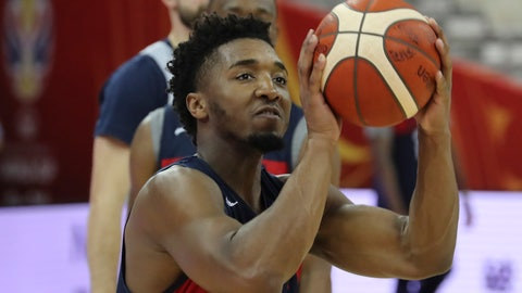 <p>               United States' Donovan Mitchell prepares to shoot during practice ahead of the FIBA Basketball World Cup at the Shanghai Oriental Sports Center in Shanghai on Sunday, Sept. 1, 2019. (AP Photo/Ng Han Guan)             </p>