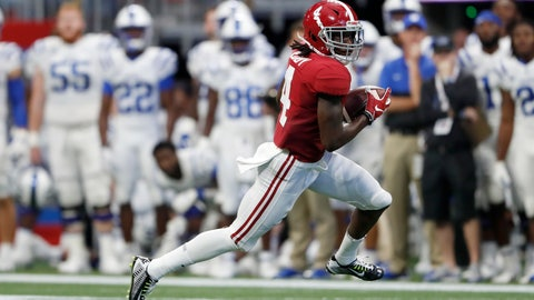 <p>               Alabama wide receiver Jerry Jeudy (4) runs after a catch in the first half of an NCAA college football game against Duke, Saturday, Aug. 31, 2019, in Atlanta. (AP Photo/John Bazemore)             </p>