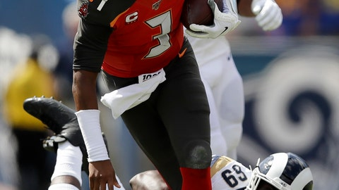 <p>               Tampa Bay Buccaneers quarterback Jameis Winston is tackled by Los Angeles Rams defensive tackle Sebastian Joseph-Day during the first of an NFL football game Sunday, Sept. 29, 2019, in Los Angeles. (AP Photo/Marcio Jose Sanchez)             </p>