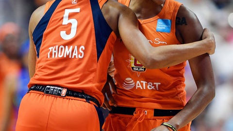 <p>               Connecticut Sun guard Jasmine Thomas, left, congratulates Courtney Williams after keeping the ball in play leading to a score against the Dallas Wings during a WNBA basketball game Wednesday, Sept. 4, 2019, in Uncasville, Conn. (Sean D. Elliot/The Day via AP)             </p>