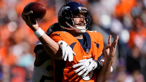 <p>               Denver Broncos quarterback Joe Flacco is hit by Jacksonville Jaguars defensive back D.J. Hayden as he throws a pass during the first half of an NFL football game Sunday, Sept. 29, 2019, in Denver. (AP Photo/Jack Dempsey)             </p>