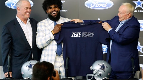 <p>               From left to right, Dallas Cowboys director of player personnel Stephen Jones watches as running back Ezekiel Elliott is presented with a shirt by team owner Jerry Jones, right, during a news conference regarding Elliott's new contract at the NFL football team's practice facility in Frisco, Texas, Thursday, Sept. 5, 2019. Elliott's agreement on a new contract ended a holdout that covered all of training camp and the preseason and came four days before the season opener at home against the New York Giants. (AP Photo/Tony Gutierrez)             </p>