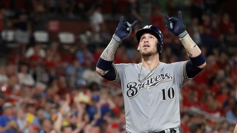 <p>               Milwaukee Brewers' Yasmani Grandal celebrates as he arrives home after hitting a two-run home run during the eighth inning of a baseball game against the St. Louis Cardinals, Saturday, Sept. 14, 2019, in St. Louis. (AP Photo/Jeff Roberson)             </p>